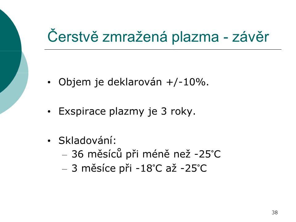 38 Čerstvě zmražená plazma - závěr Objem je deklarován +/-10%.