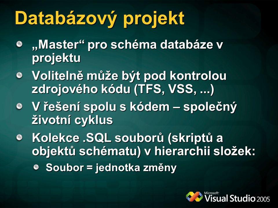 """Databázový projekt """"Master pro schéma databáze v projektu Volitelně může být pod kontrolou zdrojového kódu (TFS, VSS,...) V řešení spolu s kódem – společný životní cyklus Kolekce.SQL souborů (skriptů a objektů schématu) v hierarchii složek: Soubor = jednotka změny"""
