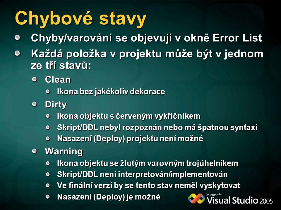 Chybové stavy Chyby/varování se objevují v okně Error List Každá položka v projektu může být v jednom ze tří stavů: Clean Ikona bez jakékoliv dekorace Dirty Ikona objektu s červeným vykřičníkem Skript/DDL nebyl rozpoznán nebo má špatnou syntaxi Nasazení (Deploy) projektu není možné Warning Ikona objektu se žlutým varovným trojúhelníkem Skript/DDL není interpretován/implementován Ve finální verzi by se tento stav neměl vyskytovat Nasazení (Deploy) je možné