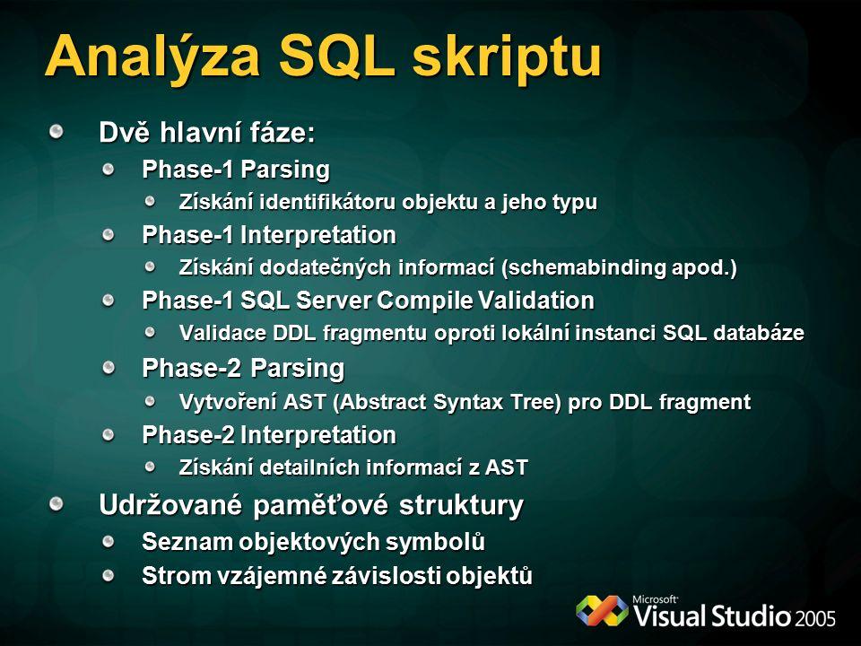 Analýza SQL skriptu Dvě hlavní fáze: Phase-1 Parsing Získání identifikátoru objektu a jeho typu Phase-1 Interpretation Získání dodatečných informací (schemabinding apod.) Phase-1 SQL Server Compile Validation Validace DDL fragmentu oproti lokální instanci SQL databáze Phase-2 Parsing Vytvoření AST (Abstract Syntax Tree) pro DDL fragment Phase-2 Interpretation Získání detailních informací z AST Udržované paměťové struktury Seznam objektových symbolů Strom vzájemné závislosti objektů