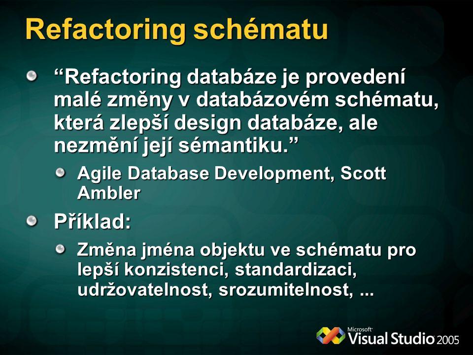 Refactoring schématu Refactoring databáze je provedení malé změny v databázovém schématu, která zlepší design databáze, ale nezmění její sémantiku. Agile Database Development, Scott Ambler Příklad: Změna jména objektu ve schématu pro lepší konzistenci, standardizaci, udržovatelnost, srozumitelnost,...