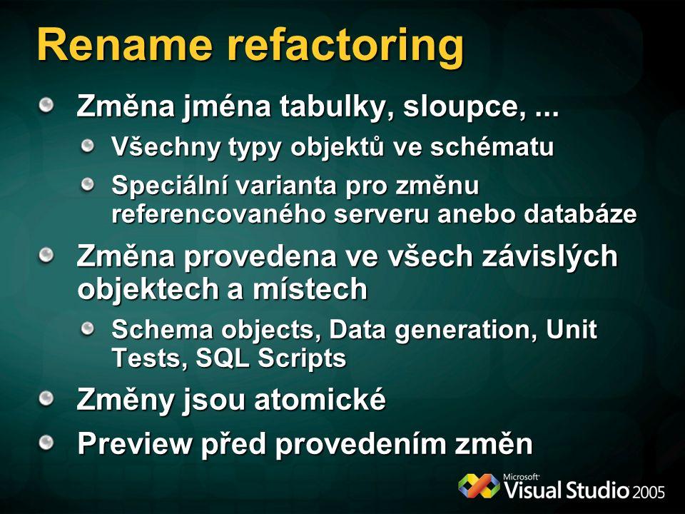 Rename refactoring Změna jména tabulky, sloupce,...