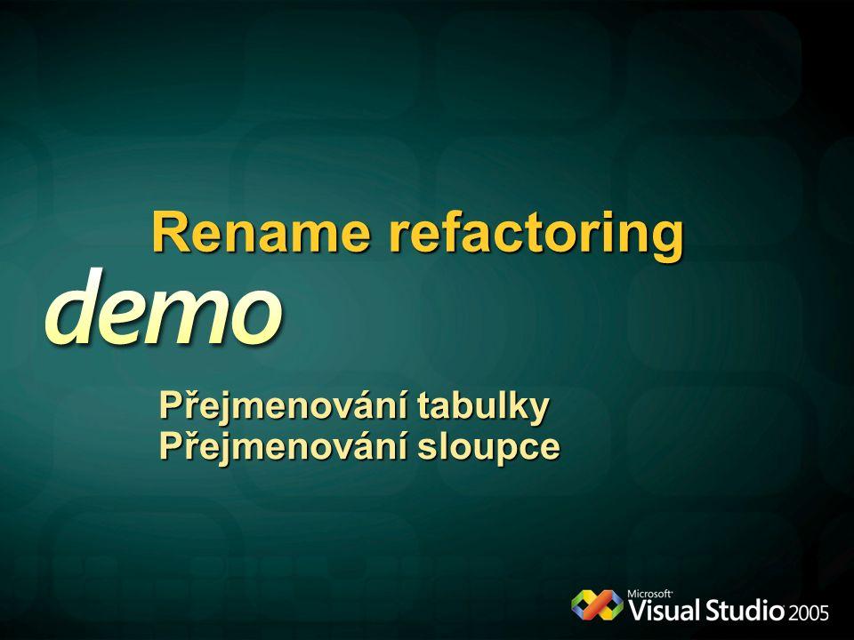Rename refactoring Přejmenování tabulky Přejmenování sloupce