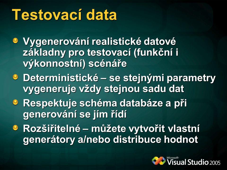 Testovací data Vygenerování realistické datové základny pro testovací (funkční i výkonnostní) scénáře Deterministické – se stejnými parametry vygeneruje vždy stejnou sadu dat Respektuje schéma databáze a při generování se jím řídí Rozšiřitelné – můžete vytvořit vlastní generátory a/nebo distribuce hodnot