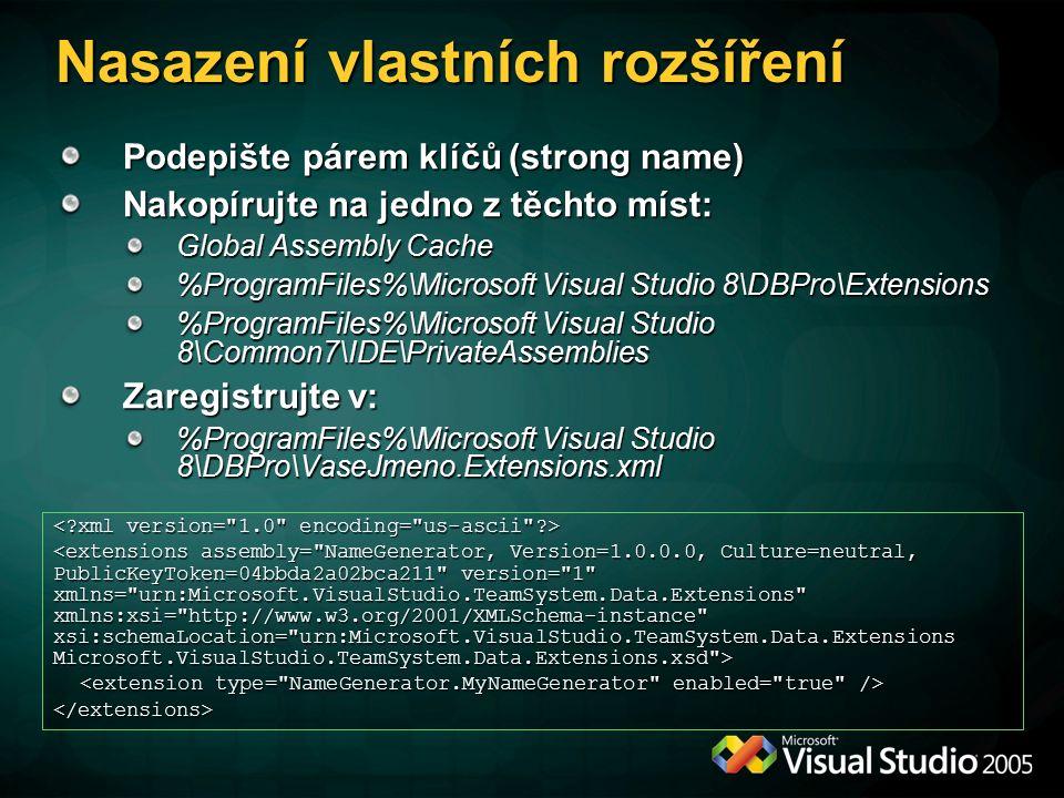 Podepište párem klíčů (strong name) Nakopírujte na jedno z těchto míst: Global Assembly Cache %ProgramFiles%\Microsoft Visual Studio 8\DBPro\Extensions %ProgramFiles%\Microsoft Visual Studio 8\Common7\IDE\PrivateAssemblies Zaregistrujte v: %ProgramFiles%\Microsoft Visual Studio 8\DBPro\VaseJmeno.Extensions.xml </extensions> Nasazení vlastních rozšíření