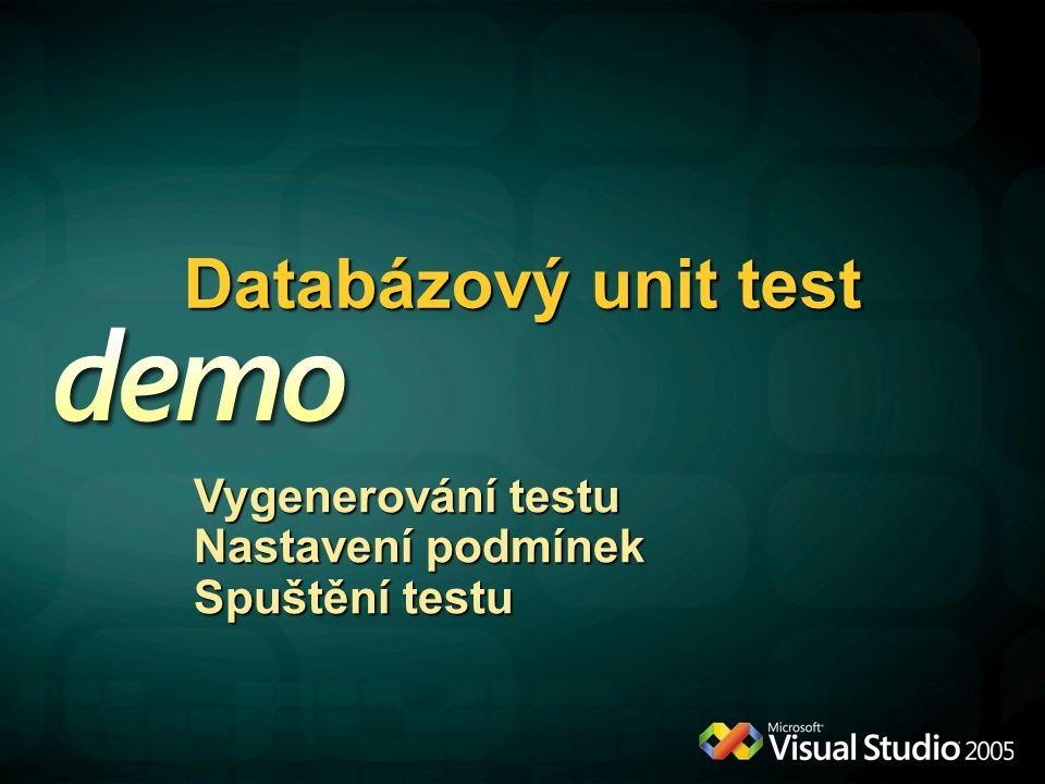 Databázový unit test Vygenerování testu Nastavení podmínek Spuštění testu