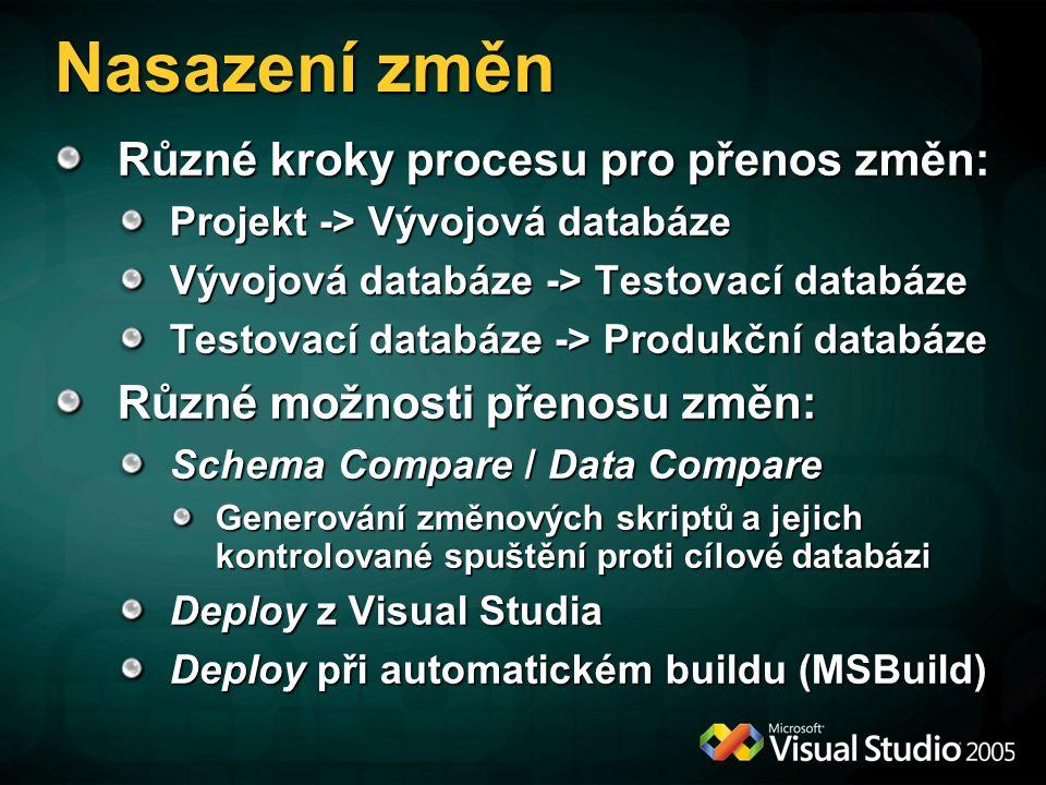 Nasazení změn Různé kroky procesu pro přenos změn: Projekt -> Vývojová databáze Vývojová databáze -> Testovací databáze Testovací databáze -> Produkční databáze Různé možnosti přenosu změn: Schema Compare / Data Compare Generování změnových skriptů a jejich kontrolované spuštění proti cílové databázi Deploy z Visual Studia Deploy při automatickém buildu (MSBuild)