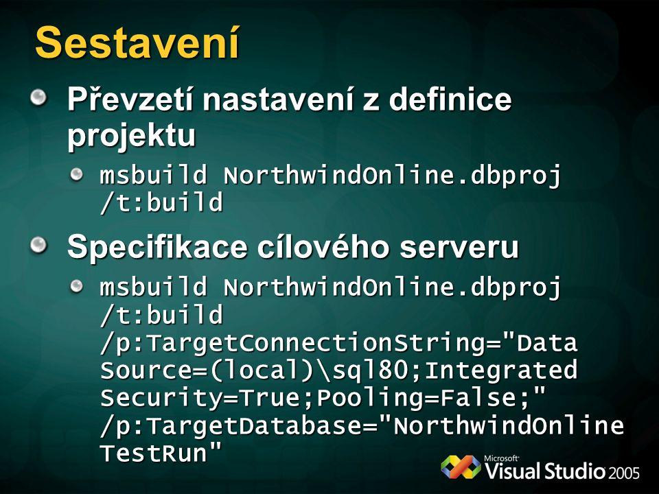 Převzetí nastavení z definice projektu msbuild NorthwindOnline.dbproj /t:build Specifikace cílového serveru msbuild NorthwindOnline.dbproj /t:build /p:TargetConnectionString= Data Source=(local)\sql80;Integrated Security=True;Pooling=False; /p:TargetDatabase= NorthwindOnline TestRun Sestavení