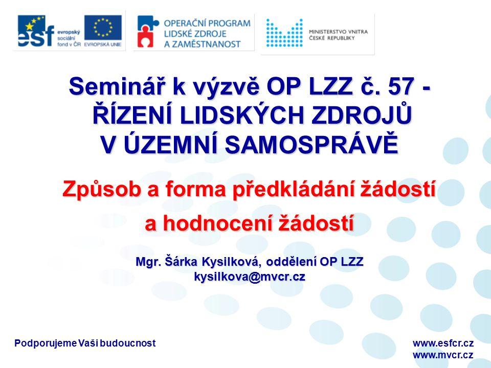 Podporujeme Vaši budoucnostwww.esfcr.cz www.mvcr.cz Seminář k výzvě OP LZZ č.