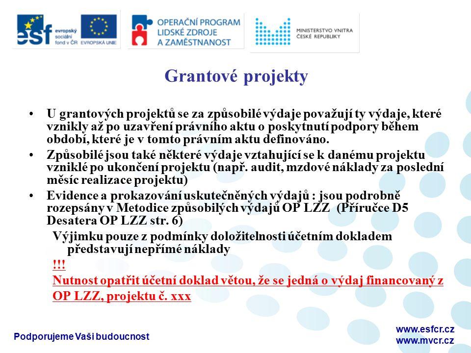Podporujeme Vaši budoucnost www.esfcr.cz www.mvcr.cz Grantové projekty U grantových projektů se za způsobilé výdaje považují ty výdaje, které vznikly až po uzavření právního aktu o poskytnutí podpory během období, které je v tomto právním aktu definováno.