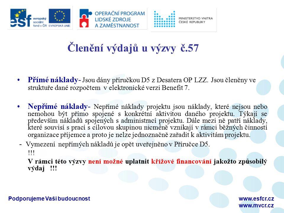 Členění výdajů u výzvy č.57 Přímé náklady- Jsou dány příručkou D5 z Desatera OP LZZ.