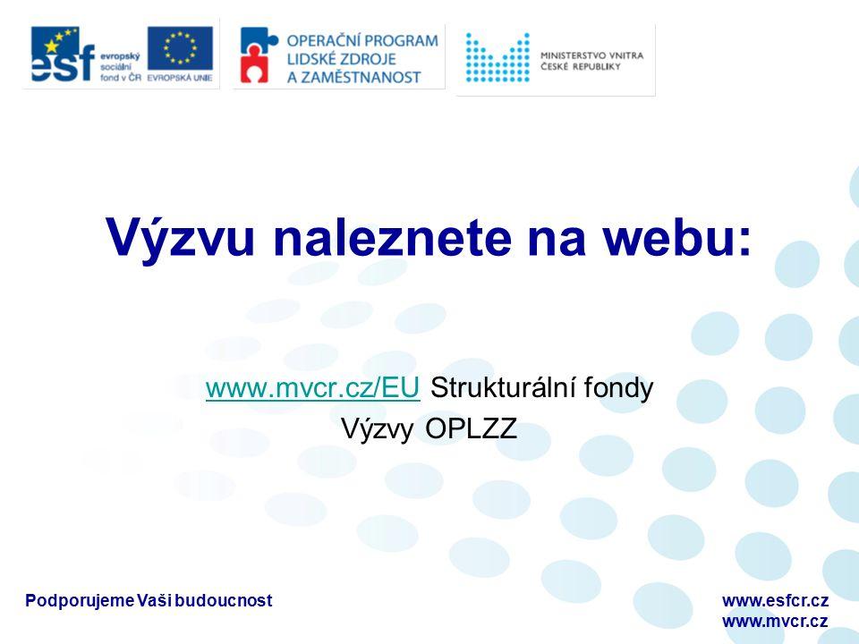 Výzvu naleznete na webu: www.mvcr.cz/EUwww.mvcr.cz/EU Strukturální fondy Výzvy OPLZZ Podporujeme Vaši budoucnostwww.esfcr.cz www.mvcr.cz