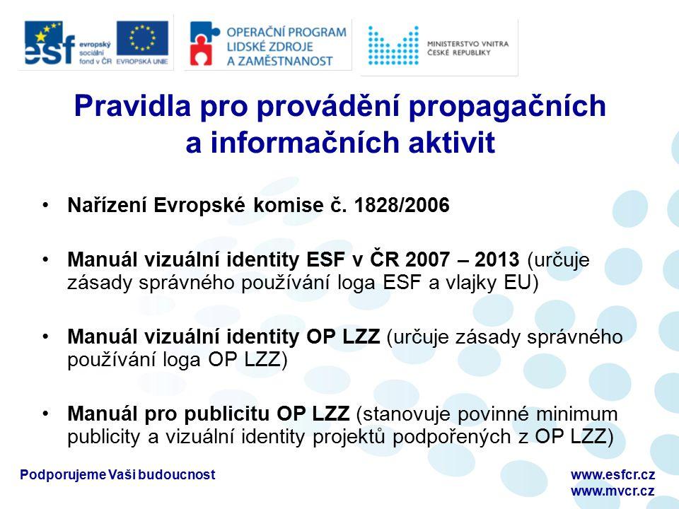 Podporujeme Vaši budoucnostwww.esfcr.cz www.mvcr.cz Pravidla pro provádění propagačních a informačních aktivit Nařízení Evropské komise č.