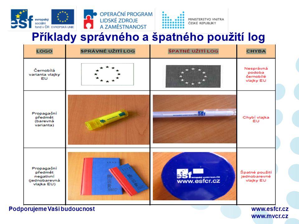 Příklady správného a špatného použití log Podporujeme Vaši budoucnostwww.esfcr.cz www.mvcr.cz