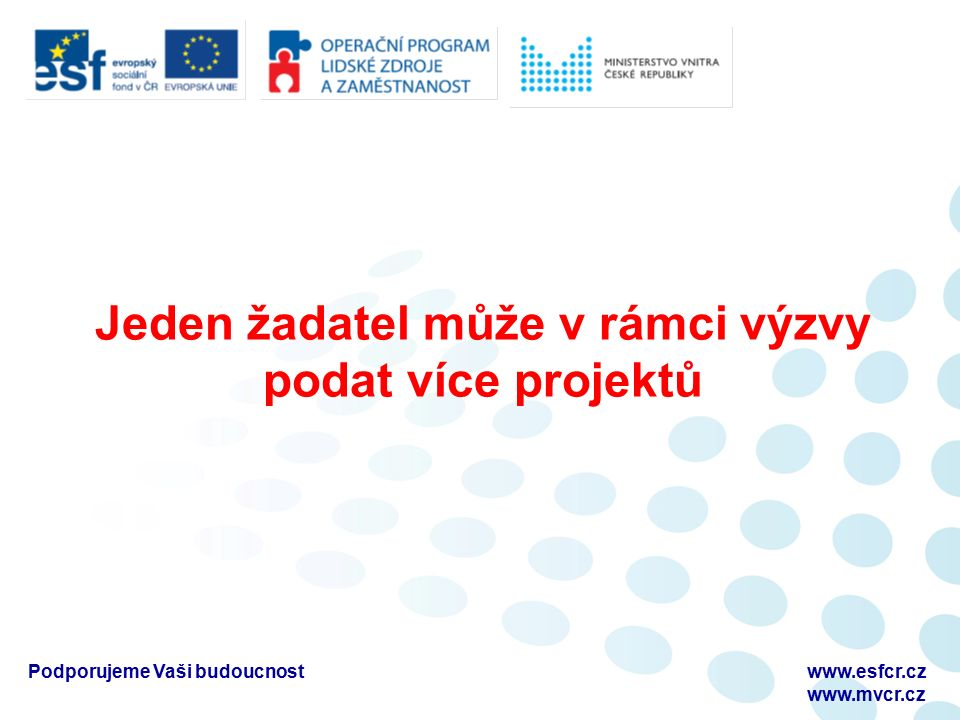 Podporujeme Vaši budoucnostwww.esfcr.cz www.mvcr.cz Aktivity, které nelze podpořit Zahraniční pracovní cesty či zahraniční pracovní stáže Vzdělávání v oblasti IT Vzdělávání v oblasti cizích jazyků