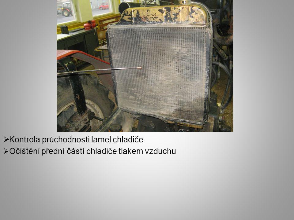  Kontrola průchodnosti lamel chladiče  Očištění přední částí chladiče tlakem vzduchu