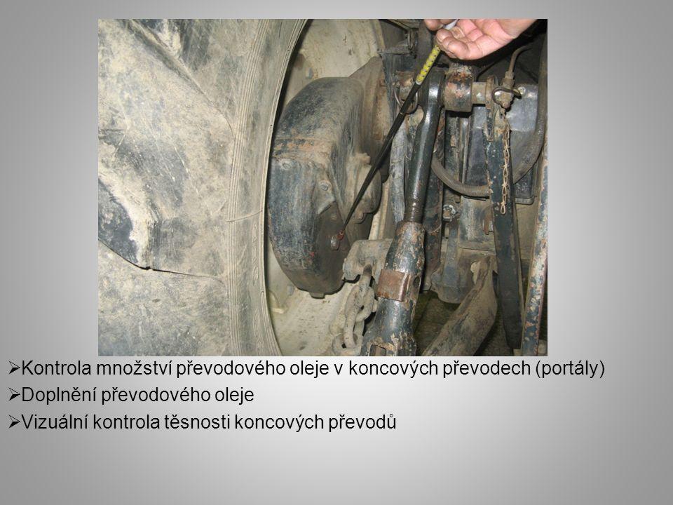  Kontrola množství převodového oleje v koncových převodech (portály)  Doplnění převodového oleje  Vizuální kontrola těsnosti koncových převodů