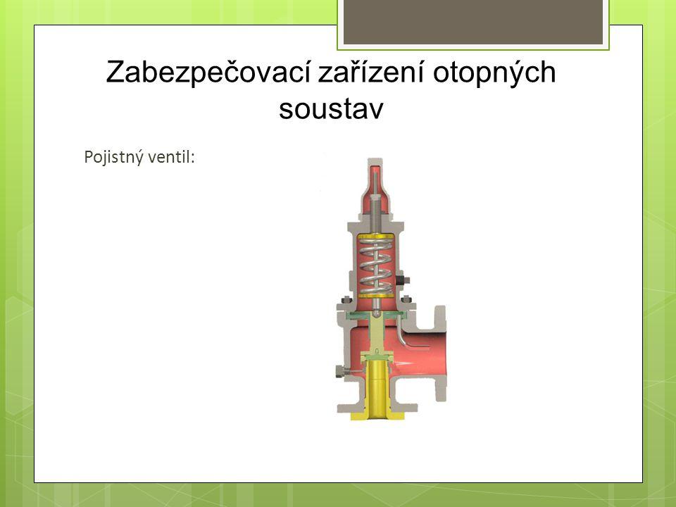 Zabezpečovací zařízení otopných soustav Pojistný ventil: