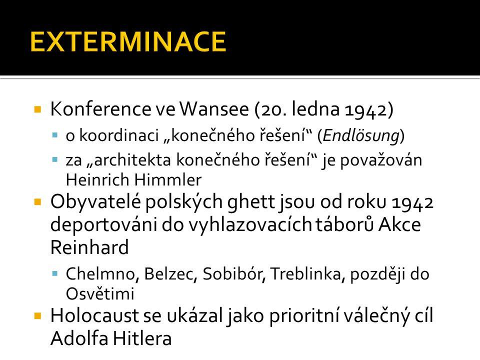 """ Konference ve Wansee (20. ledna 1942)  o koordinaci """"konečného řešení"""" (Endlösung)  za """"architekta konečného řešení"""" je považován Heinrich Himmler"""