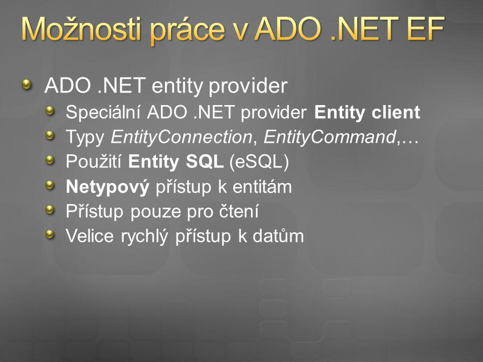 ADO.NET entity provider Speciální ADO.NET provider Entity client Typy EntityConnection, EntityCommand,… Použití Entity SQL (eSQL) Netypový přístup k entitám Přístup pouze pro čtení Velice rychlý přístup k datům