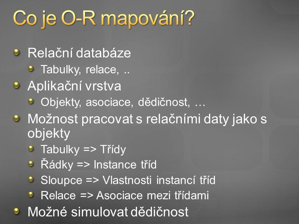 Relační databáze Tabulky, relace,..