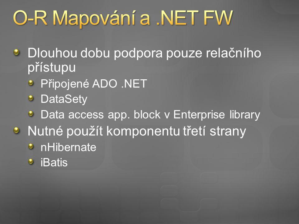 Dlouhou dobu podpora pouze relačního přístupu Připojené ADO.NET DataSety Data access app.