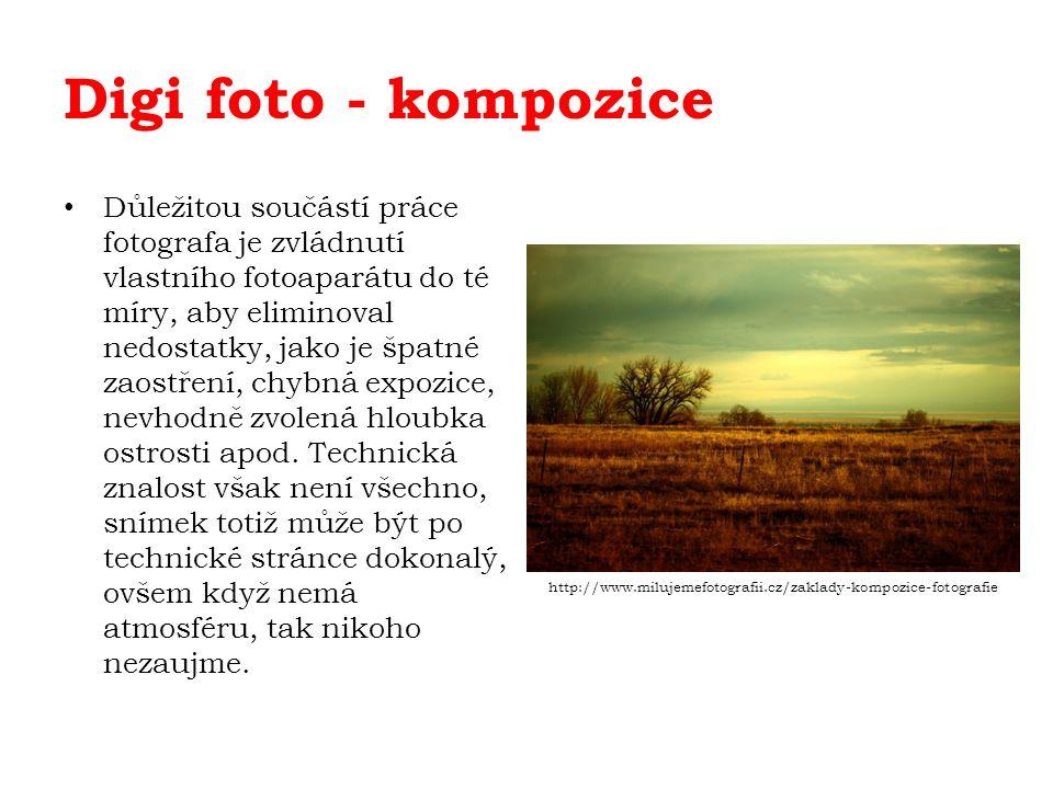 Digi foto - kompozice Důležitou součástí práce fotografa je zvládnutí vlastního fotoaparátu do té míry, aby eliminoval nedostatky, jako je špatné zaostření, chybná expozice, nevhodně zvolená hloubka ostrosti apod.
