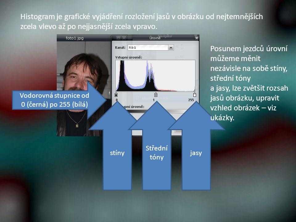 Histogram je grafické vyjádření rozložení jasů v obrázku od nejtemnějších zcela vlevo až po nejjasnější zcela vpravo.