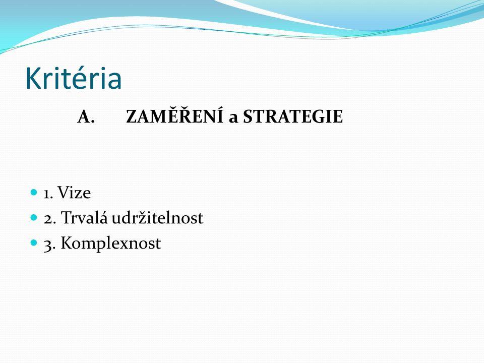 Kritéria A. ZAMĚŘENÍ a STRATEGIE 1. Vize 2. Trvalá udržitelnost 3. Komplexnost