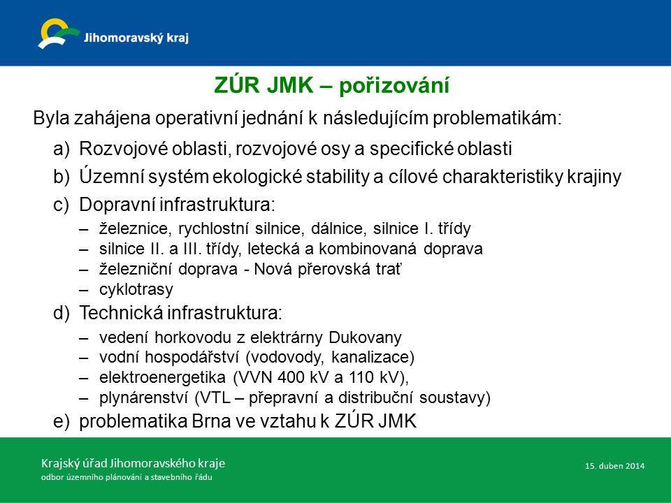 ZÚR JMK – pořizování Byla zahájena operativní jednání k následujícím problematikám: a)Rozvojové oblasti, rozvojové osy a specifické oblasti b)Územní s