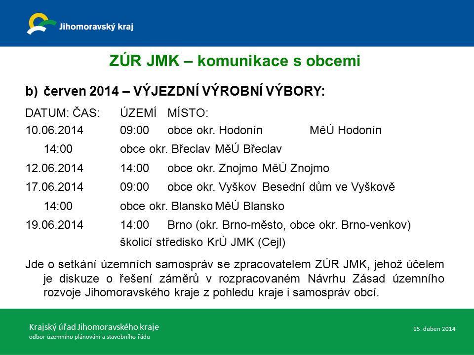 Krajský úřad Jihomoravského kraje odbor územního plánování a stavebního řádu ZÚR JMK – komunikace s obcemi 15.
