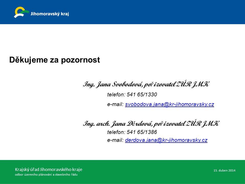 Děkujeme za pozornost Ing. Jana Svobodová, po ř izovatel ZÚR JMK telefon: 541 65/1330 e-mail: svobodova.jana@kr-jihomoravsky.czsvobodova.jana@kr-jihom