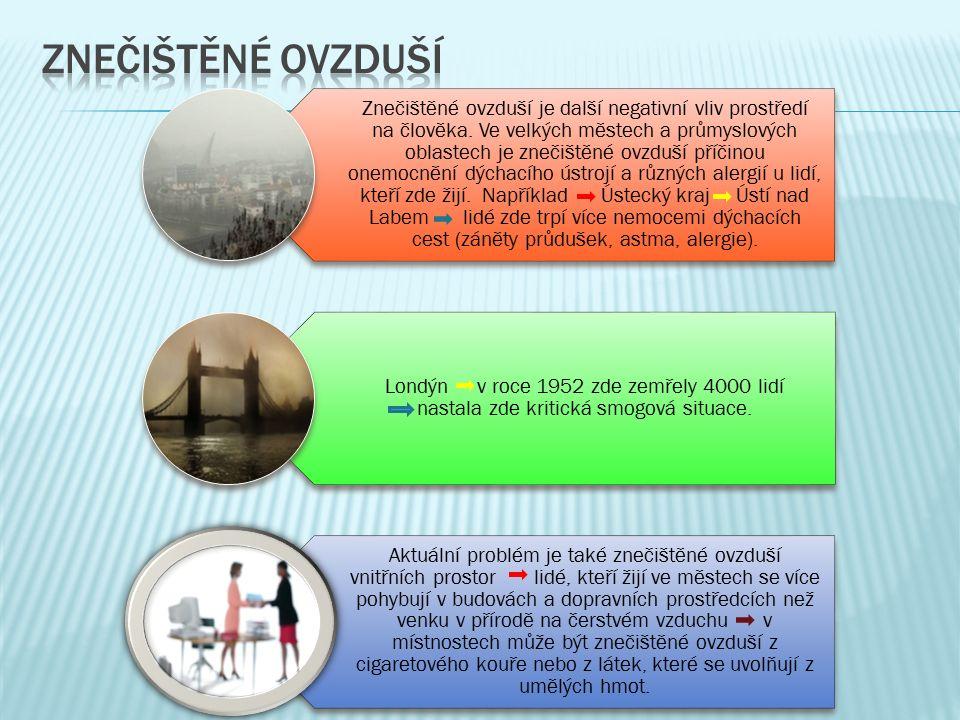 Znečištěné ovzduší je další negativní vliv prostředí na člověka.