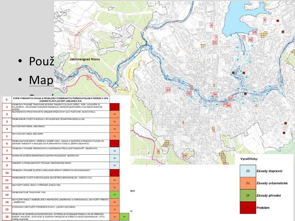 Jablonec nad Nisou Použití informací o intenzitě dopravy Mapová schémata ke každému tématu Rozdělení problémů + přehledný výkres problémů