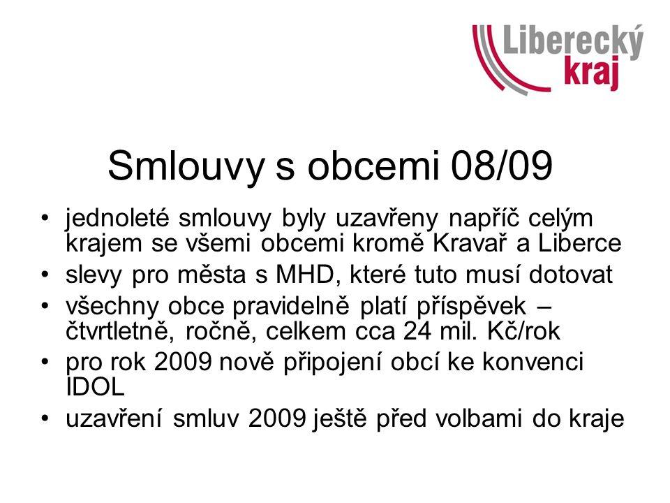 Smlouvy s obcemi 08/09 jednoleté smlouvy byly uzavřeny napříč celým krajem se všemi obcemi kromě Kravař a Liberce slevy pro města s MHD, které tuto musí dotovat všechny obce pravidelně platí příspěvek – čtvrtletně, ročně, celkem cca 24 mil.