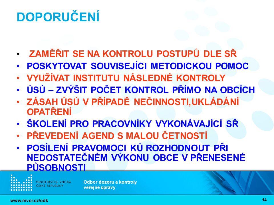 www.mvcr.cz/odk Odbor dozoru a kontroly veřejné správy 14 DOPORUČENÍ ZAMĚŘIT SE NA KONTROLU POSTUPŮ DLE SŘ POSKYTOVAT SOUVISEJÍCI METODICKOU POMOC VYU