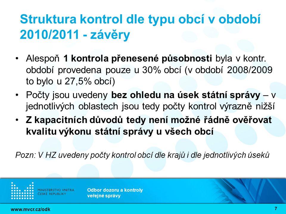 www.mvcr.cz/odk Odbor dozoru a kontroly veřejné správy 7 Struktura kontrol dle typu obcí v období 2010/2011 - závěry Alespoň 1 kontrola přenesené půso