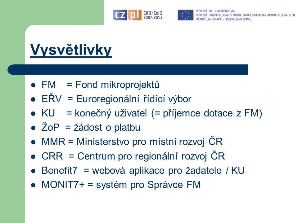 Vysvětlivky FM = Fond mikroprojektů EŘV = Euroregionální řídící výbor KU = konečný uživatel (= příjemce dotace z FM) ŽoP = žádost o platbu MMR = Ministerstvo pro místní rozvoj ČR CRR = Centrum pro regionální rozvoj ČR Benefit7 = webová aplikace pro žadatele / KU MONIT7+ = systém pro Správce FM