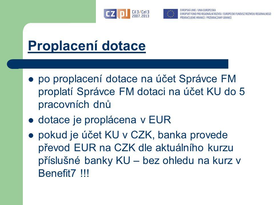 """Závěrečná zpráva a ŽoP (I) Základní předpoklady pro úspěšné zpracování Závěrečné zprávy a ŽoP: postupovat dle platné dokumentace: - Příručka pro KU (verze 3 platná od 1.10.2011) - Příručka pro zpracování ŽoP v Benefit7 (aktualizovaná v 10/2011) - další dokumenty na www.euroregion-silesia.cz (odkaz Programy EU / Cíl 3 / Dokumentace FMP)www.euroregion-silesia.cz vycházet z projektové žádosti včetně případných podmínek stanovených EŘV, oznámených či schválených změn v průběhu realizace a smlouvy využít konzultace – při konzultaci však není možné provést """"předběžnou kontrolu předkládaných dokumentů."""