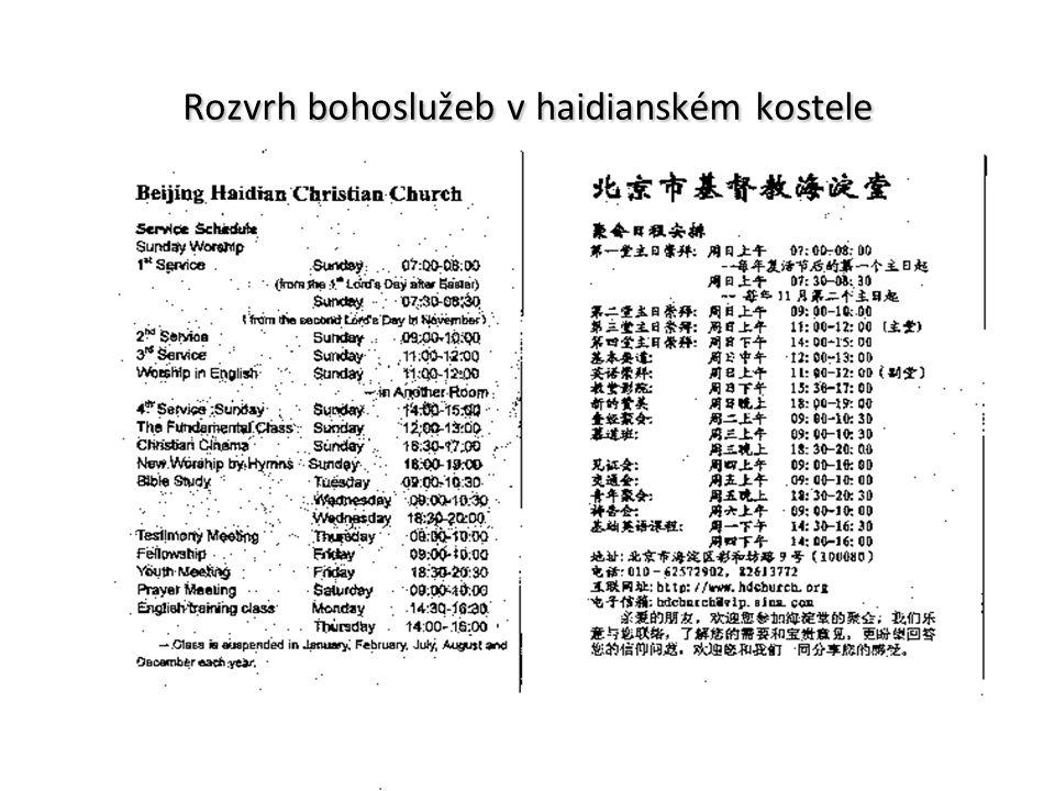 Rozvrh bohoslužeb v haidianském kostele