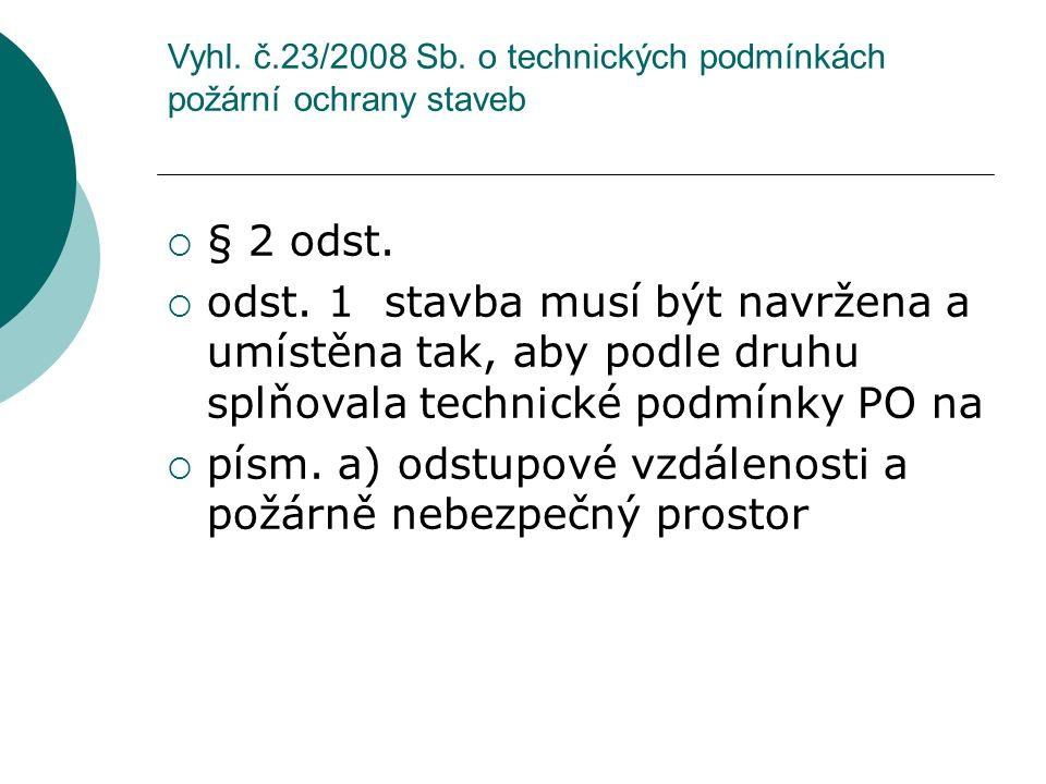 Vyhl. č.23/2008 Sb. o technických podmínkách požární ochrany staveb  § 2 odst.