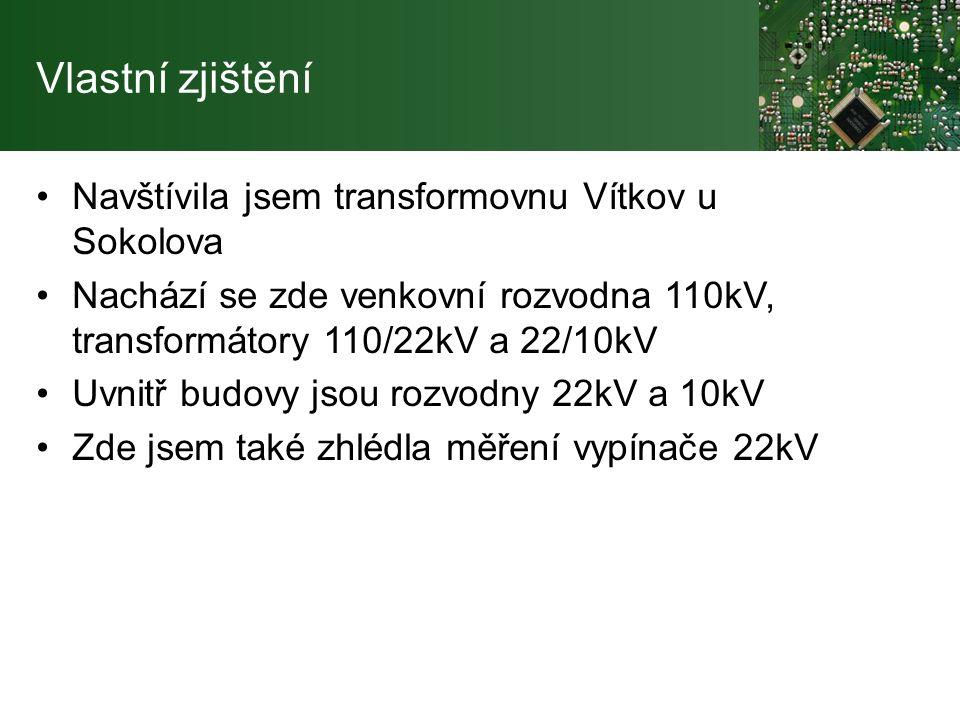 Vlastní zjištění Navštívila jsem transformovnu Vítkov u Sokolova Nachází se zde venkovní rozvodna 110kV, transformátory 110/22kV a 22/10kV Uvnitř budovy jsou rozvodny 22kV a 10kV Zde jsem také zhlédla měření vypínače 22kV