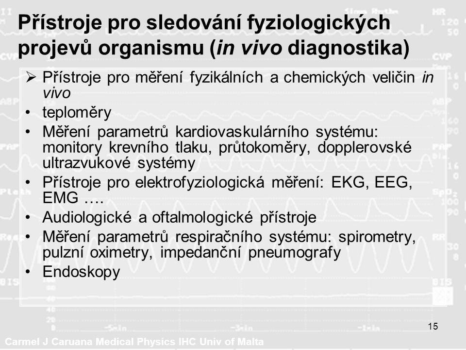 Carmel J Caruana Medical Physics IHC Univ of Malta 15 Přístroje pro sledování fyziologických projevů organismu (in vivo diagnostika)  Přístroje pro měření fyzikálních a chemických veličin in vivo teploměry Měření parametrů kardiovaskulárního systému: monitory krevního tlaku, průtokoměry, dopplerovské ultrazvukové systémy Přístroje pro elektrofyziologická měření: EKG, EEG, EMG ….