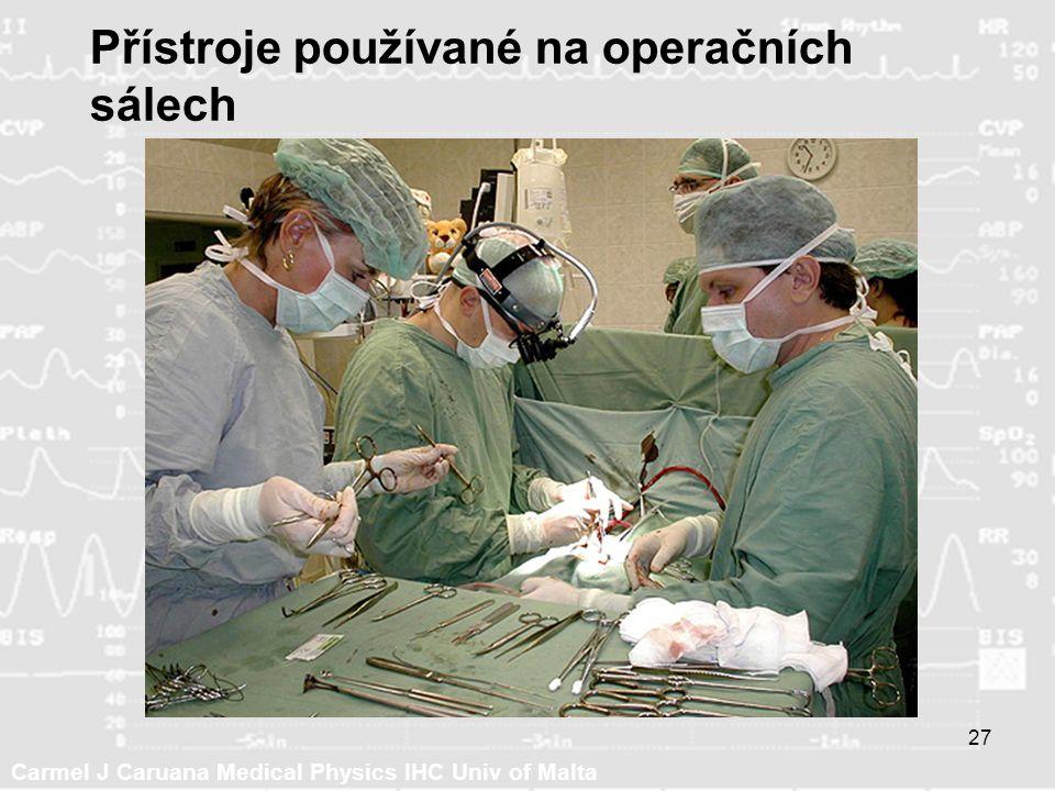 Carmel J Caruana Medical Physics IHC Univ of Malta 27 Přístroje používané na operačních sálech