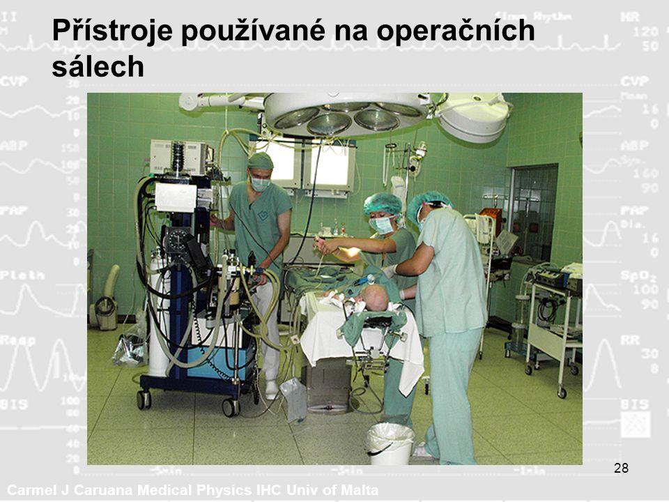 Carmel J Caruana Medical Physics IHC Univ of Malta 28 Přístroje používané na operačních sálech