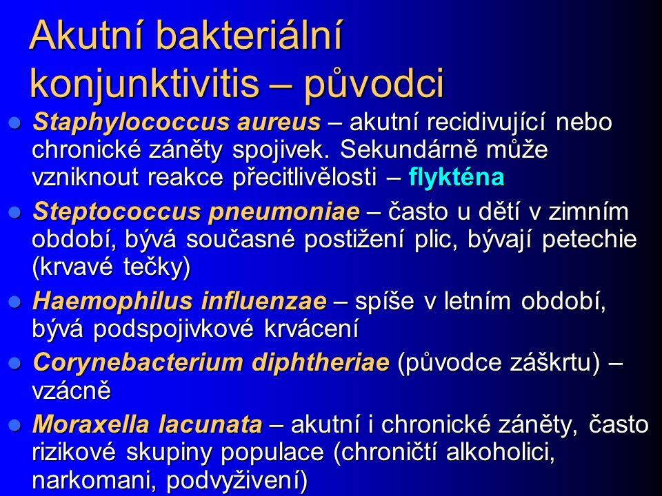 Akutní bakteriální konjunktivitis – původci Staphylococcus aureus – akutní recidivující nebo chronické záněty spojivek.