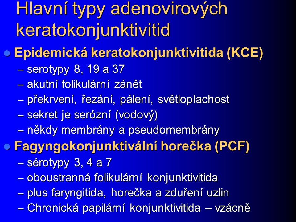 Hlavní typy adenovirových keratokonjunktivitid Epidemická keratokonjunktivitida (KCE) Epidemická keratokonjunktivitida (KCE) – serotypy 8, 19 a 37 – akutní folikulární zánět – překrvení, řezání, pálení, světloplachost – sekret je serózní (vodový) – někdy membrány a pseudomembrány Fagyngokonjunktivální horečka (PCF) Fagyngokonjunktivální horečka (PCF) – sérotypy 3, 4 a 7 – oboustranná folikulární konjunktivitida – plus faryngitida, horečka a zduření uzlin – Chronická papilární konjunktivitida – vzácně