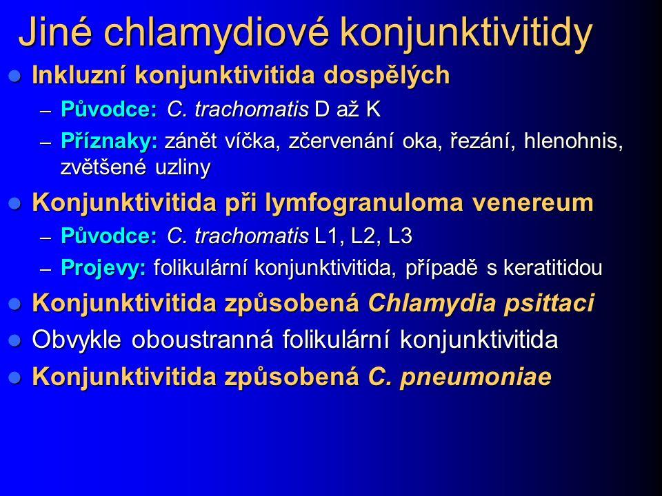 Jiné chlamydiové konjunktivitidy Inkluzní konjunktivitida dospělých Inkluzní konjunktivitida dospělých – Původce: C. trachomatis D až K – Příznaky: zá
