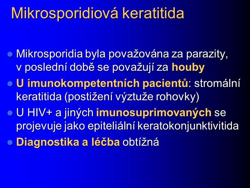 Mikrosporidiová keratitida Mikrosporidia byla považována za parazity, v poslední době se považují za houby Mikrosporidia byla považována za parazity, v poslední době se považují za houby U imunokompetentních pacientů: stromální keratitida (postižení výztuže rohovky) U imunokompetentních pacientů: stromální keratitida (postižení výztuže rohovky) U HIV+ a jiných imunosuprimovaných se projevuje jako epiteliální keratokonjunktivitida U HIV+ a jiných imunosuprimovaných se projevuje jako epiteliální keratokonjunktivitida Diagnostika a léčba obtížná Diagnostika a léčba obtížná
