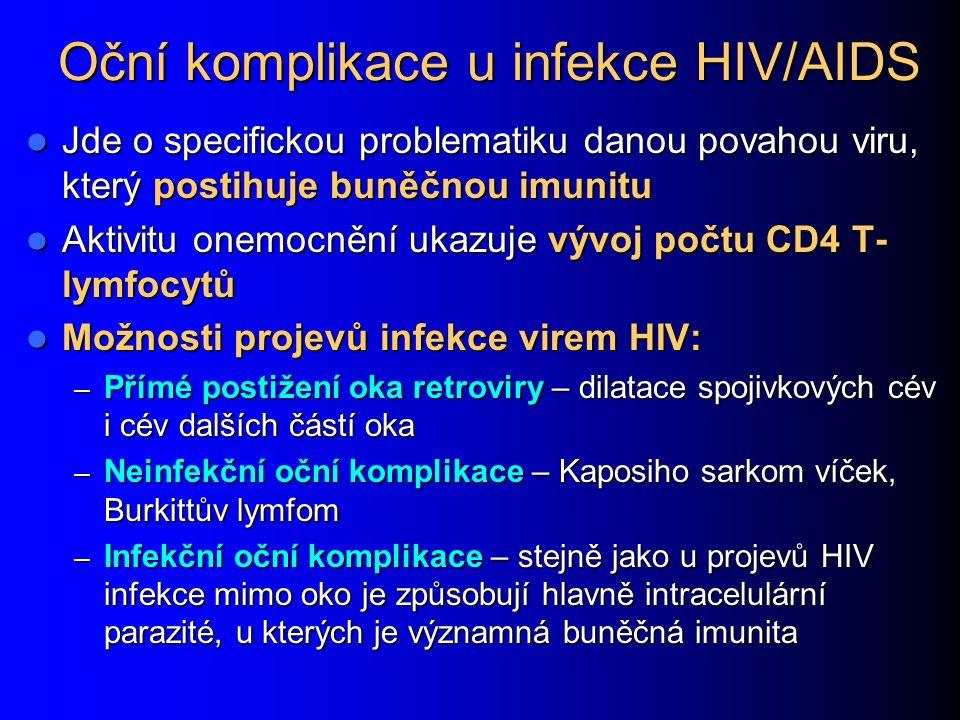 Oční komplikace u infekce HIV/AIDS Jde o specifickou problematiku danou povahou viru, který postihuje buněčnou imunitu Jde o specifickou problematiku